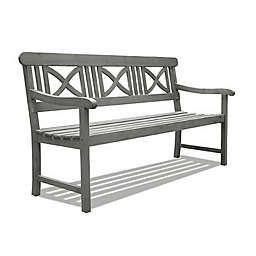 Vifah Renaissance X-Back Outdoor Bench in Grey