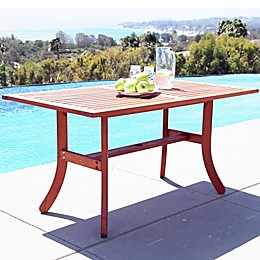 Vifah Curvy Leg Outdoor Dining Table in Natural Wood