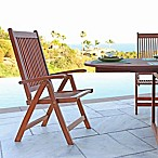 Vifah Foldable Outdoor Reclining Patio Arm Chair in Natural Wood