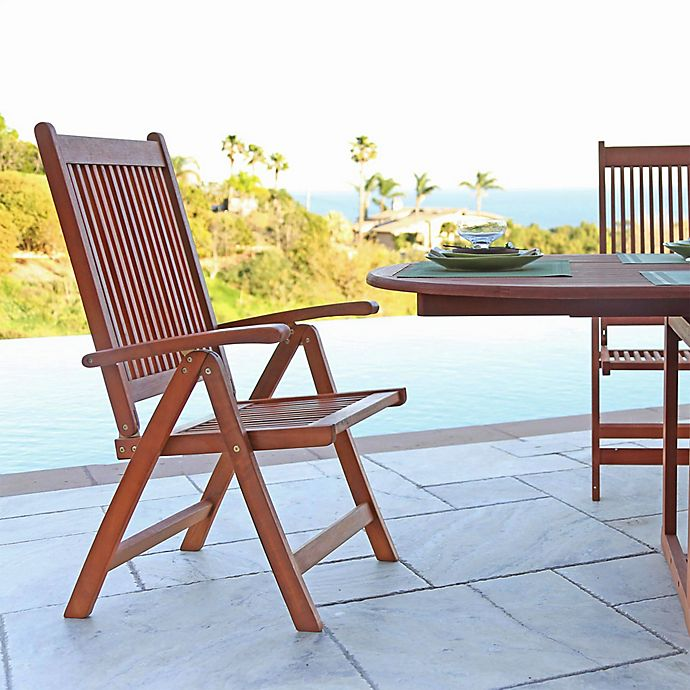Alternate image 1 for Vifah Foldable Outdoor Reclining Patio Arm Chair in Natural Wood