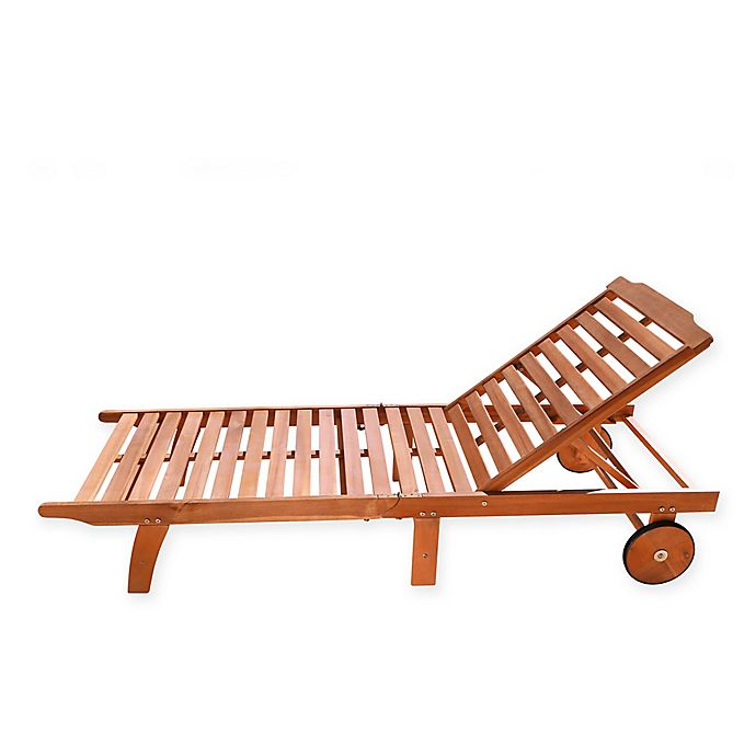 Vifah Single Outdoor Chaise Lounge in Natural Wood | Bed ...
