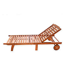 Vifah Single Outdoor Chaise Lounge in Natural Wood