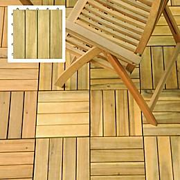 Vifah Acacia 4-Slat Deck Tile in Natural Wood