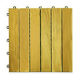 Vifah Acacia 6-Slat Deck Tile in Natural Wood