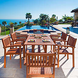 Vifah Malibu 4-Piece Outdoor Dining Set in Natural Wood