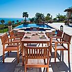Vifah Malibu 7-Piece Straight Leg Outdoor  Dining Set in Natural Wood
