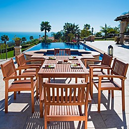 Vifah Malibu 7-Piece Outdoor Dining Set in Natural Wood