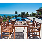 Vifah Malibu 5-Piece X-Back Dining Outdoor Set in Natural Wood