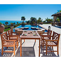 Vifah Malibu 5-Piece Outdoor Dining Set in Natural Wood