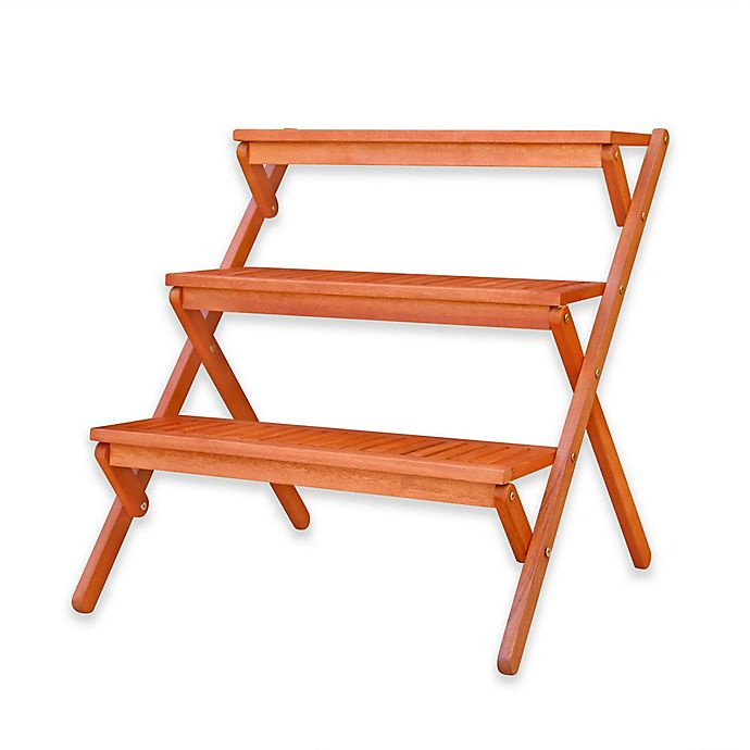 3 Tier Plant Stand In Natural Wood