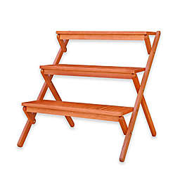 Vifah 3-Tier Plant Stand in Natural Wood