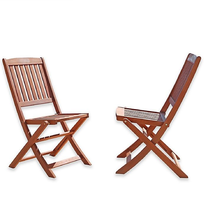 Alternate image 1 for Vifah Bistro All-Weather Eucalpytus Outdoor Folding Chairs in Natural Wood (Set of 2)
