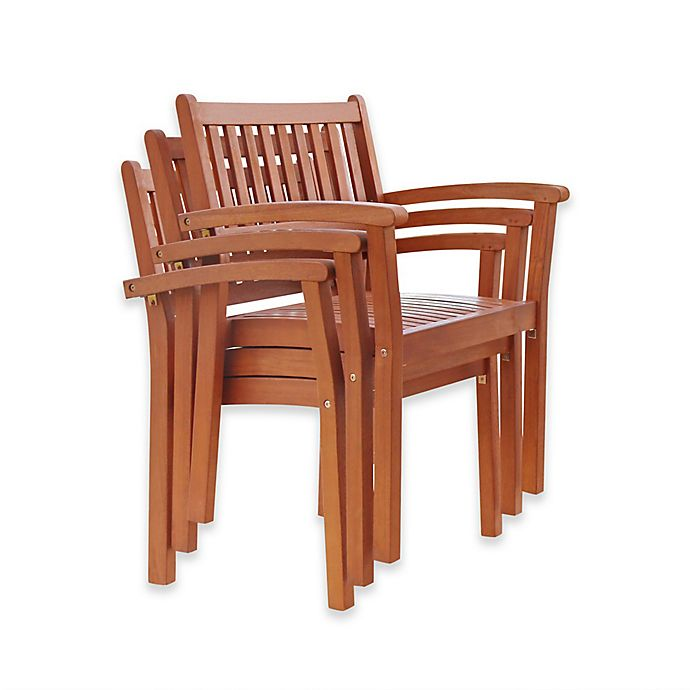 Alternate image 1 for Vifah Outdoor Stacking Chairs in Natural Wood (Set of 4)