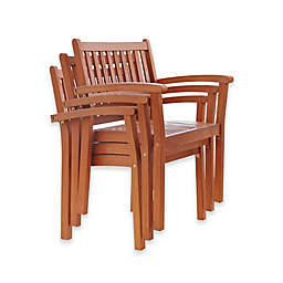 Vifah Outdoor Stacking Chairs in Natural Wood (Set of 4)