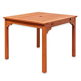 Vifah Ibiza 35-Inch Square All-Weather Eucalyptus Outdoor End Table in Natural Wood