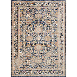 Magnolia Home by Joanna Gaines Trinity Floral Border 2-Foot 7-Inch x 4-Foot Accent Rug in Navy