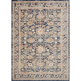 Magnolia Home by Joanna Gaines Trinity Floral Border Rug in Navy