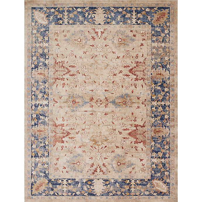 Magnolia Home By Joanna Gaines Trinity Floral Rug In Sand Blue Bed