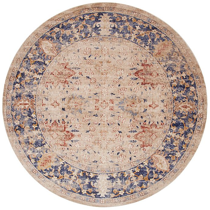 Alternate image 1 for Magnolia Home by Joanna Gaines Trinity Floral 9-Foot  6-Inch Round Area  Rug in Sand/Blue