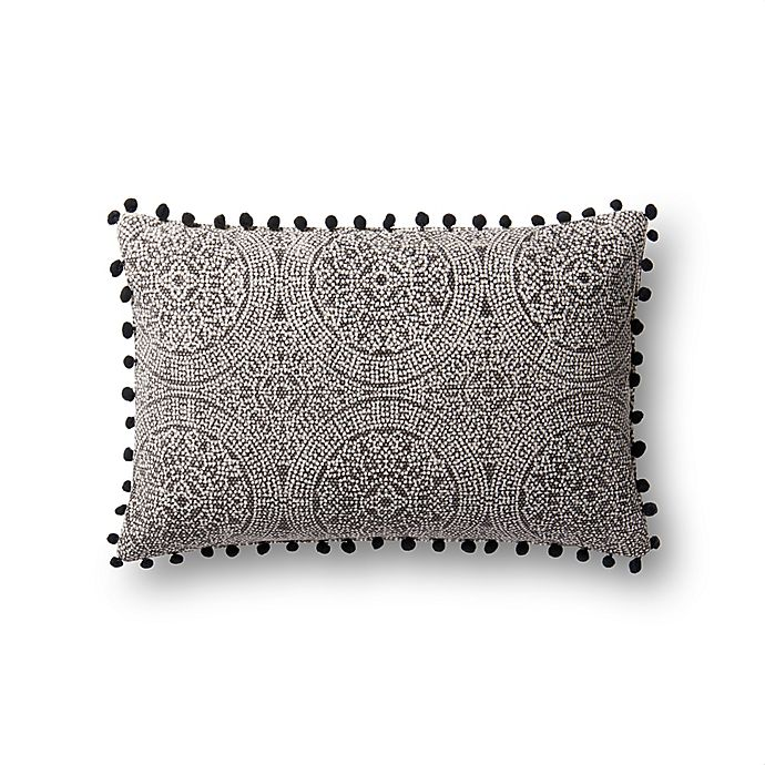 Alternate image 1 for Magnolia Home by Joanna Gaines Ruby Oblong Throw Pillow in Charcoal/Black