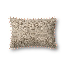 Magnolia Home by Joanna Gaines Ruby Oblong Throw Pillow in Taupe/Pink