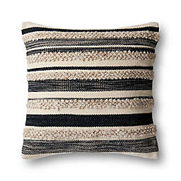 Magnolia Home by Joanna Gaines Zander Square Throw Pillow in Charcoal/Ivory