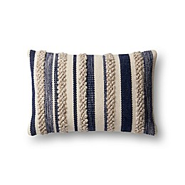 Magnolia Home by Joanna Gaines Zander Rectangle Throw Pillow in Navy/Ivory