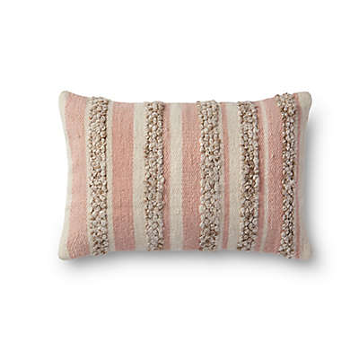 Magnolia Home by Joanna Gaines Zander Rectangle Throw Pillow in Pink/Ivory
