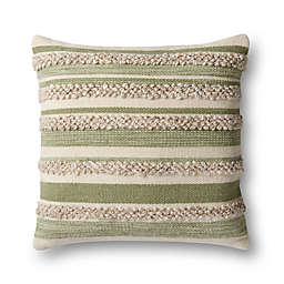 Magnolia Home by Joanna Gaines Zander Square Throw Pillow in Sage/Ivory