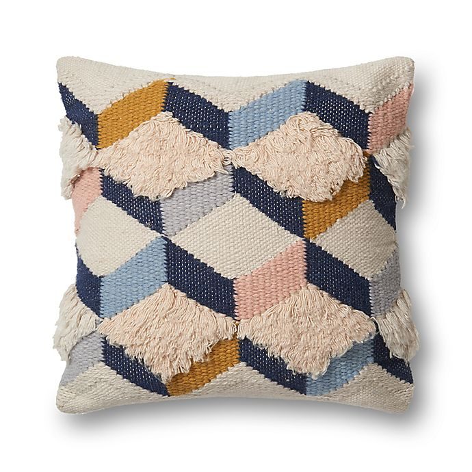 Alternate image 1 for Magnolia Home by Joanna Gaines Brant Square Throw Pillow in Navy/Pink
