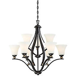 Minka-Lavery® Shadowglen Chandelier in Lathan Bronze™ with Etched White Glass Shade