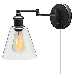 LeClair 1-Light Plug-In/Hardwire Wall Sconce in Oil Rubbed Bronze with Clear Glass Shade