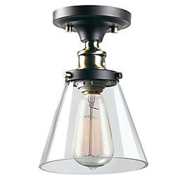Globe Electric Jackson 1-Light Semi Flush-Mount Ceiling Fixture in Oil Rubbed Bronze with Shade