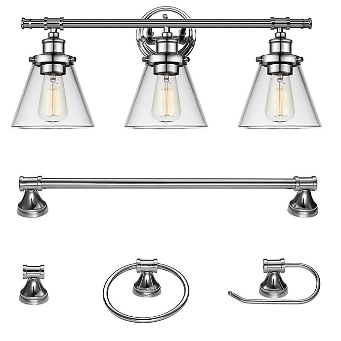 Globe Electric Parker All In One 3 Light Bath Vanity Set Chrome