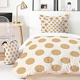 Deny Designs Allyson Johnson Gold Dots 4-Piece Twin XL Duvet Cover Set in Gold