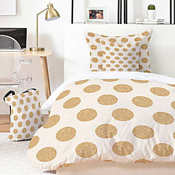 Deny Designs Allyson Johnson Gold Dots Duvet Cover Set