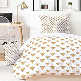 Deny Designs Allyson Johnson Glitter Triangles 4-Piece Twin XL Duvet Cover Set in Gold