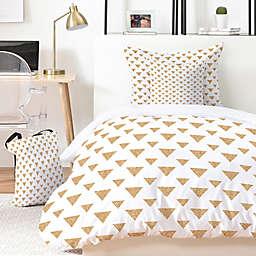 Deny Designs Allyson Johnson Glitter Triangles Duvet Cover Set in Gold