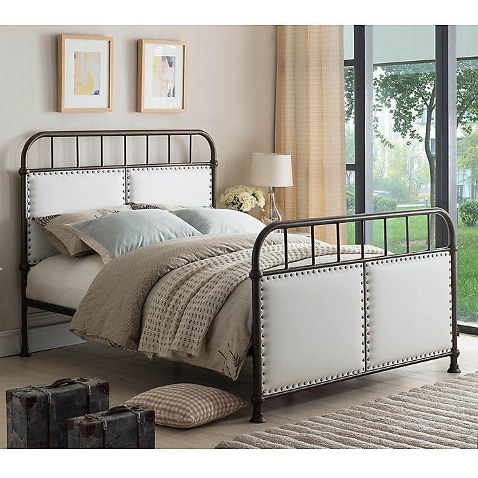 Alternate image 1 for K&B Furniture BD7314 King Metal Bed in Pewter/Off White