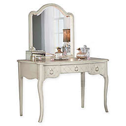 Hillsdale Kids and Teen Angela Writing Desk and Lighted Vanity Mirror Set in Opal Grey