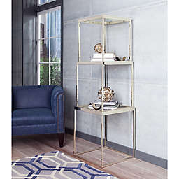 3-Piece Glass Top Etagère with Brushed Brass Finish