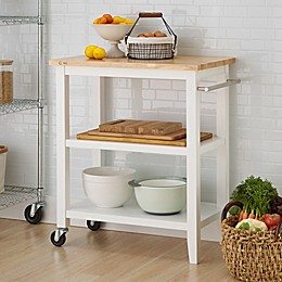 Trinity Wood Kitchen Cart in White