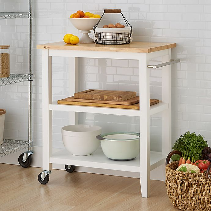 Trinity Wood Kitchen Cart in White | Bed Bath & Beyond