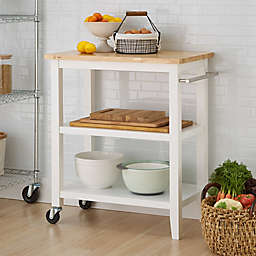 Trinity Wood Kitchen Cart in White