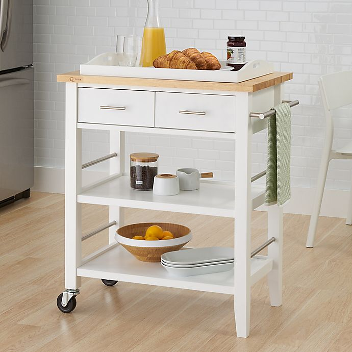 Kitchen Cart With Drawers: Trinity Wood Kitchen Cart With Drawers And Tray In White