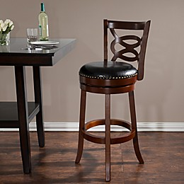 Nottingham Home Wood and Leather Swivel Stool in Brown/Black