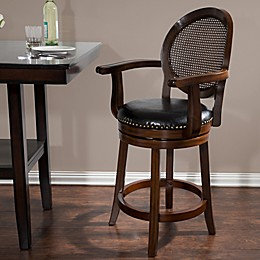 Nottingham Home Wood and Leather Swivel Stool with Armrests
