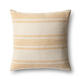 Magnolia Home by Joanna Gaines Carter Square Throw Pillow in Gold/Ivory