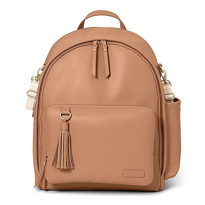 Alternate image 1 for SKIP*HOP® Greenwich Simply Chic Diaper Backpack in Caramel