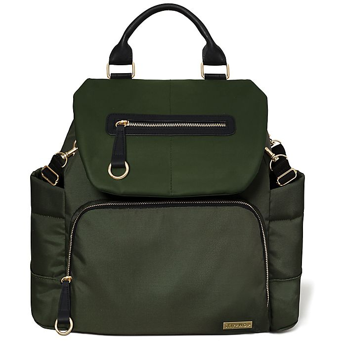 Skip Hop Chelsea Downtown Chic Diaper Backpack In Olive Green